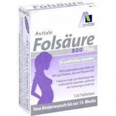 FOLSÄURE 800 Plus B12+Jod Tabletten 120 St